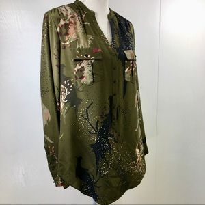 Haute Hippie Long Sleeve Olive Green Silk Blouse S